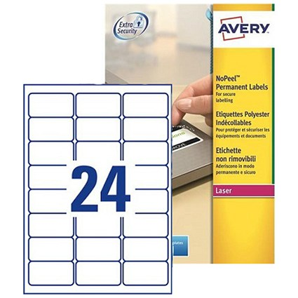 Avery NoPeel Tamper-proof Labels / 24 per Sheet / 63.5x33.9mm / White / L6146-20 / 480 Labels