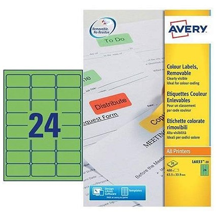 Avery Coloured Laser Labels / 24 per Sheet / 63.5x33.9mm / Green / L6033-20 / 480 Labels
