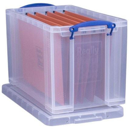 19 Litre Really Useful Storage Box & Files - Clear Strong Plastic