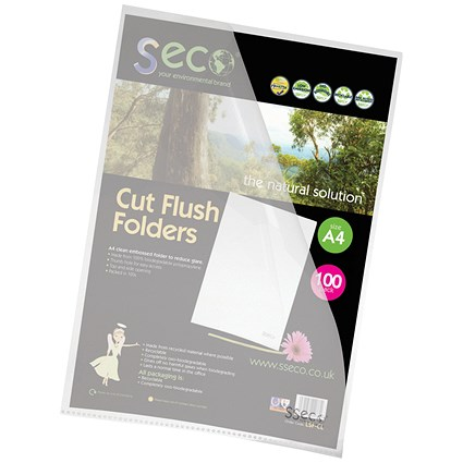 SSeco Cut Flush Folders / A4 / Oxo-biodegradable / Pack of 100