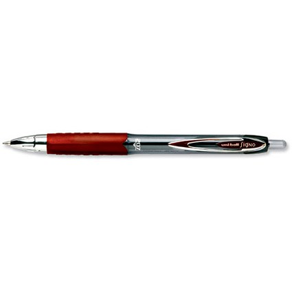 Uni-ball SigNo 207 Gel Rollerball Pen / Retractable / Fine / 0.7mm Tip / 0.5mm Line / Red / Pack of 12