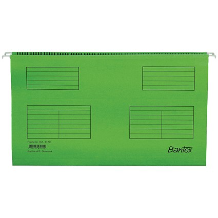 Bantex Flex Kraft Suspension Files, V Base, 15mm to 30mm Capacity, Foolscap, Green, Pack of 25