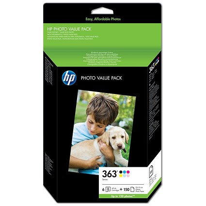 HP 363 Series Photo Value Pack - Includes 6 Cartridges and 150 Sheets of 10x15cm Paper