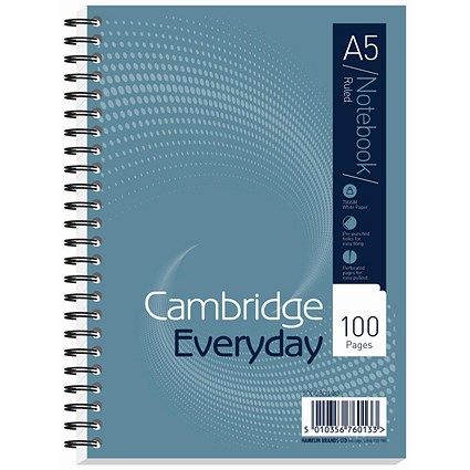 Cambridge Wirebound Notebook / A5 / Ruled / Punched / Perforated / 100 Pages / Pack of 10