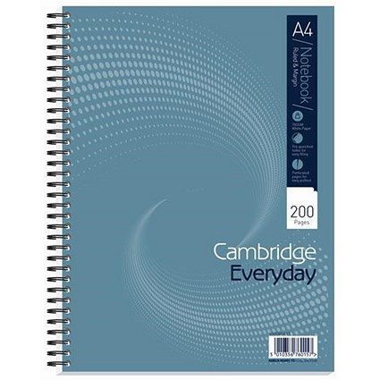 Cambridge Wirebound Notebook / A4 / Punched / Perforated / Ruled / Margin / 200 Pages / Pack of 3