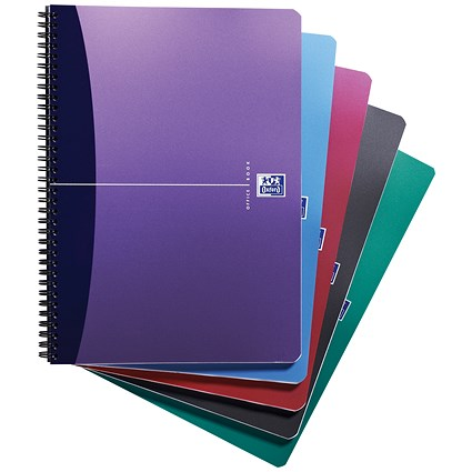 Oxford Metallics Wirebound Notebook, A4, Ruled, 180 Pages, Random Colour, Pack of 5