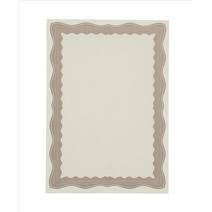 A4 Certificate Paper with Foil Seals, Bronze Wave, 90gsm, Pack of 30