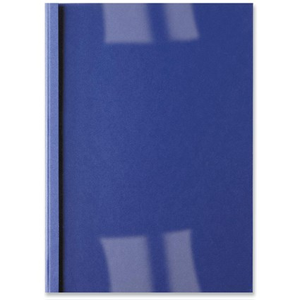 GBC Thermal Binding Covers, 3mm, Front: Clear, Back: Royal Blue Leathergrain, A4, Pack of 100