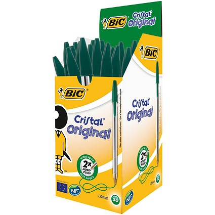 Bic Cristal Ball Pen, Clear Barrel, Green, Pack of 50