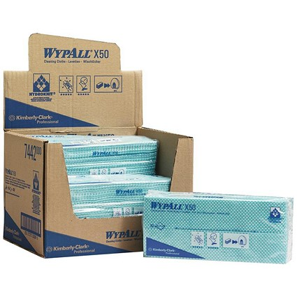 Wypall X50 Cleaning Cloths / Green / Pack of 50