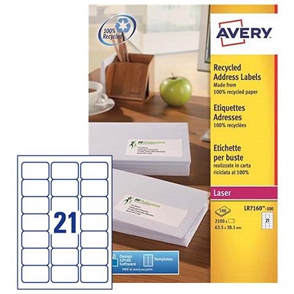 Avery Recycled Laser Addressing Labels, 21 per Sheet, 63.5x38.1mm, White, LR7160-100, 2100 Labels