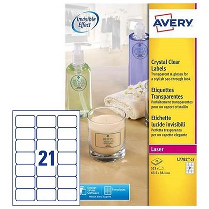Avery Crystal Clear Durable Laser Labels / 21 per Sheet / 63.5x38.1mm / Transparent / L7782-25 / 525 Labels
