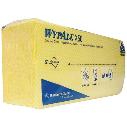Wypall X50 Cleaning Cloths / Yellow / Pack of 50