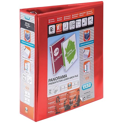 Elba Panorama A4 Presentation Lever Arch Files / 2-Ring / Red / Pack of 5