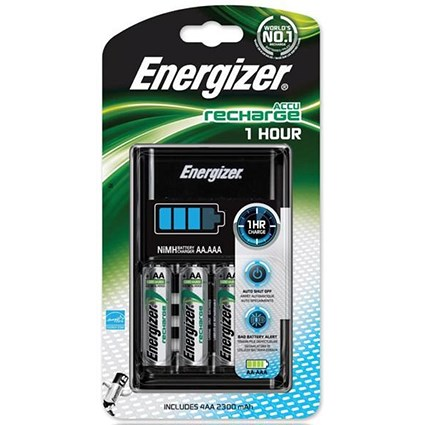 Energizer 1 Hour Battery Charger - Fast-charging Accu with 4x AA 2300mAh Batteries