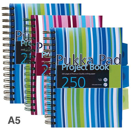 Pukka Pad Wirebound Project Notebook / A5 / Ruled / 250 Pages / 3-Divider / Assorted / Pack of 3