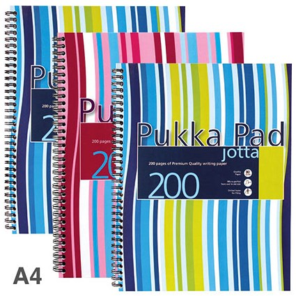 Pukka Pad Jotta Wirebound Notebook / A4 / 4 Holes / Ruled / 200 Pages / Assorted / Pack of 3