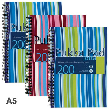 Pukka Pad Jotta Wirebound Notebook, A5, Ruled & Perforated, 200 Pages, Assorted Colours, Pack of 3