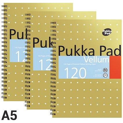 Pukka Pad Vellum Wirebound Notebook / A5 / Perforated / Ruled / 120 Pages / Pack of 3