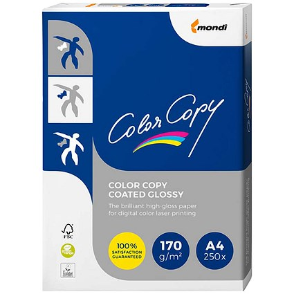 Color Copy A4 Glossy Colour Laser Paper White, 170gsm, 250 Sheets