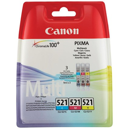 Canon CLI-521 Inkjet Cartridge Pack - Cyan, Magenta and Yellow (3 Cartridges)