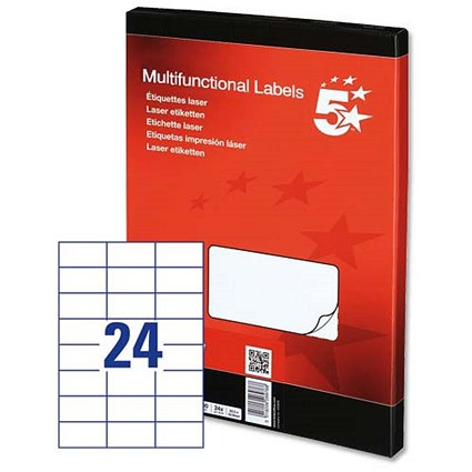 5 Star Multipurpose Laser Labels, 24 per Sheet, 64x34mm, White, 2400 Labels