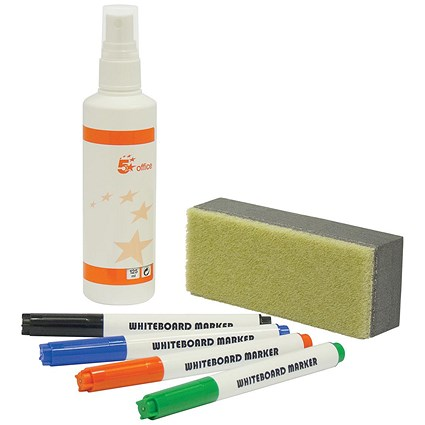 5 Star Drywipe Starter Kit - Includes Eraser, Cleaner & 4 Assorted Whiteboard Markers