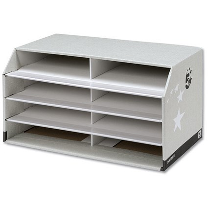 5 Star Document Sorter with 8 Compartments - Grey