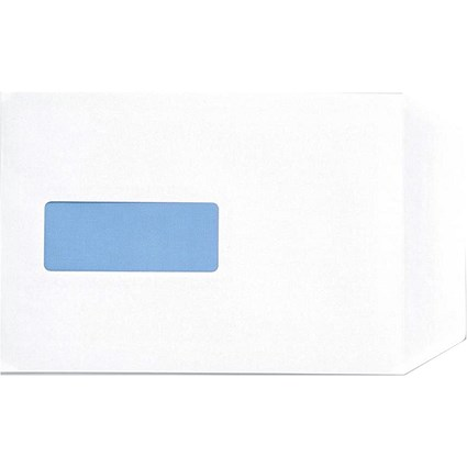 5 Star White C5 Envelopes with Window, Peel & Seal, 100gsm, Pack of 500