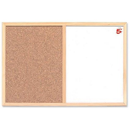 5 Star Combination Noticeboard / Cork & Drywipe / W600xH400mm