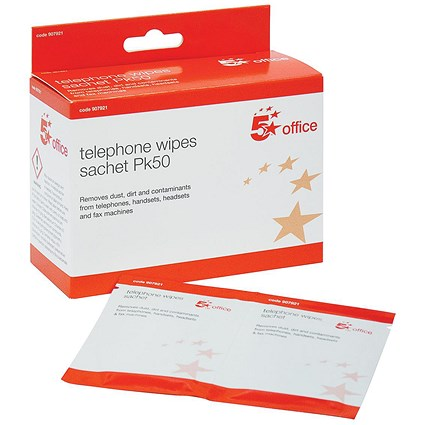 5 Star Cleaning Wipe Sachets for Telephone, Bactericidal, Non-hazardous, Pack of 50