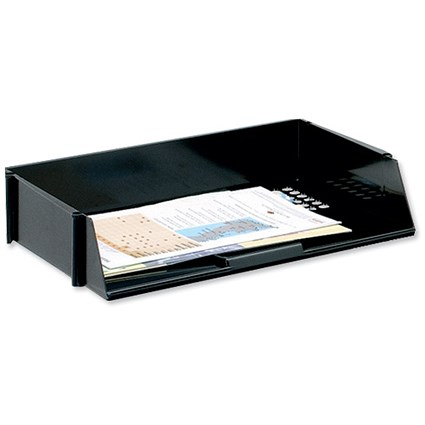 5 Star Wide Entry Stackable Letter Tray, High-impact Polystyrene, Black
