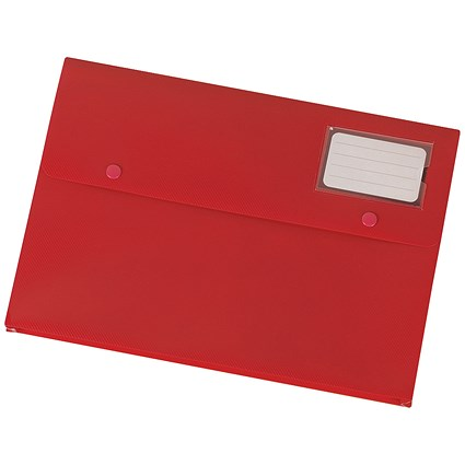 5 Star A4 Document Wallets, Red, Pack of 3