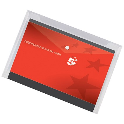 5 Star A4 Envelope Wallets, Clear, Pack of 5