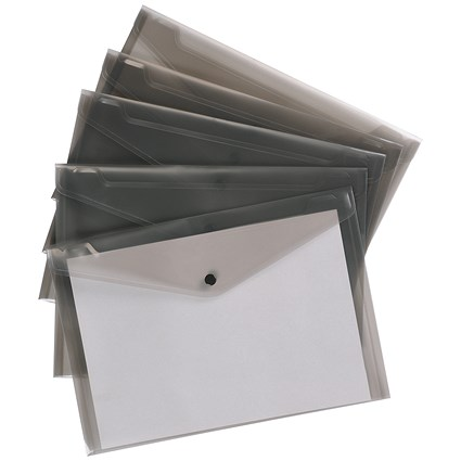 5 Star A4 Envelope Wallets, Smoke, Pack of 5