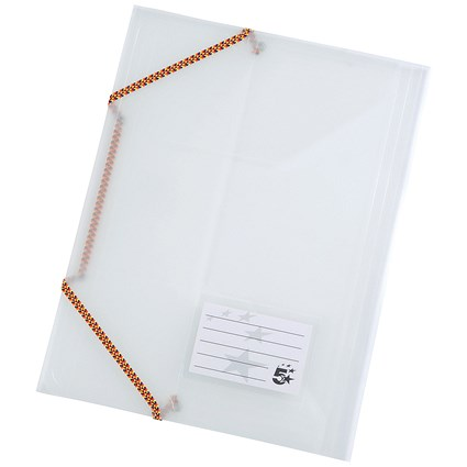 5 Star Elasticated Files / 3-Flap / A4 / Clear / Pack of 5