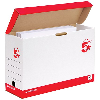 5 Star Transfer Case with Hinged Lid, Foolscap, Red & White, Pack of 20