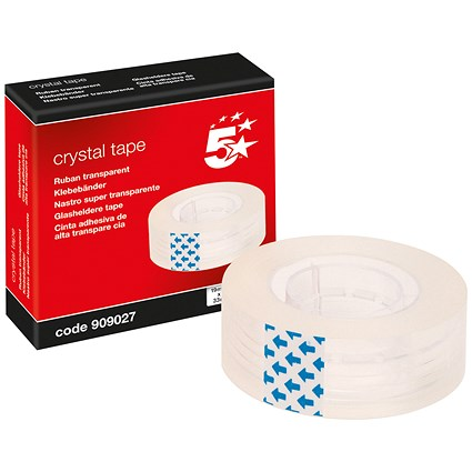 5 Star Small Clear Tape Rolls, 19mm x 33m