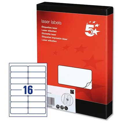 5 Star Multipurpose Laser Labels, 16 per Sheet, 99.1x34mm, White, 4000 Labels
