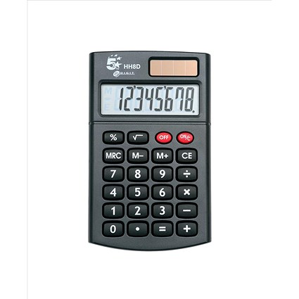 5 Star Handheld Calculator - 8 Digit Display / 3 Key Memory / Solar & Battery-power