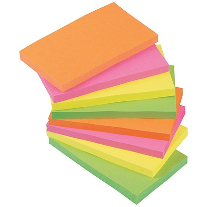 5 Star Sticky Notes / 76x127mm / Assorted Neon / Pack of 12 x 100 Notes