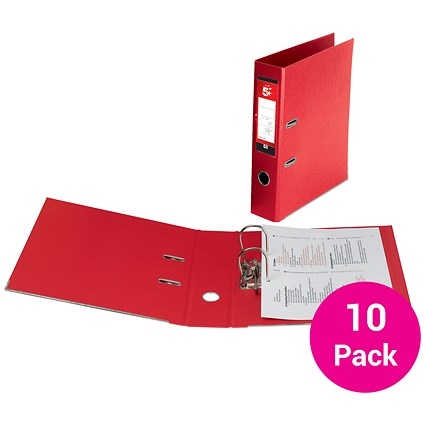 5 Star Foolscap Lever Arch Files / Plastic / Red / Pack of 10