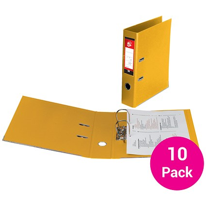 5 Star Foolscap Lever Arch Files / Plastic / Yellow / Pack of 10