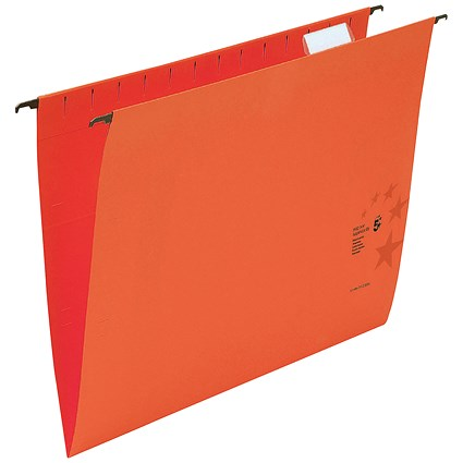 5 Star Premium Suspension Files, V Base, 15mm Capacity, Foolscap, Red, Pack of 50