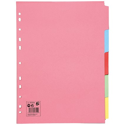 5 Star Subject Dividers / 5-Part / A4 / Assorted / Pack of 50
