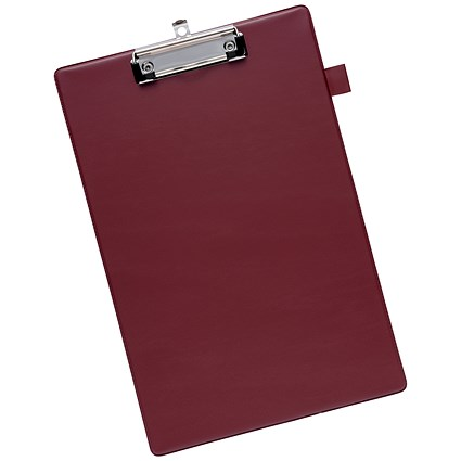 5 Star Standard Clipboard with PVC Cover / Foolscap / Dark Red