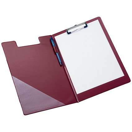 5 Star Fold-over Clipboard with Front Pocket, Foolscap, Red