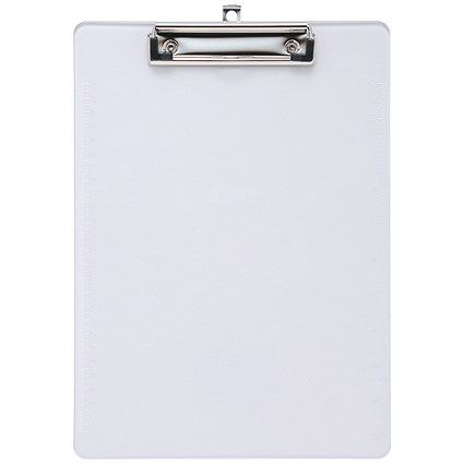 5 Star A4 Durable Plastic Clipboard - Clear