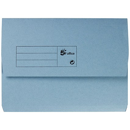 5 Star A4 Document Wallets Half Flap / 285gsm / Blue / Pack of 50