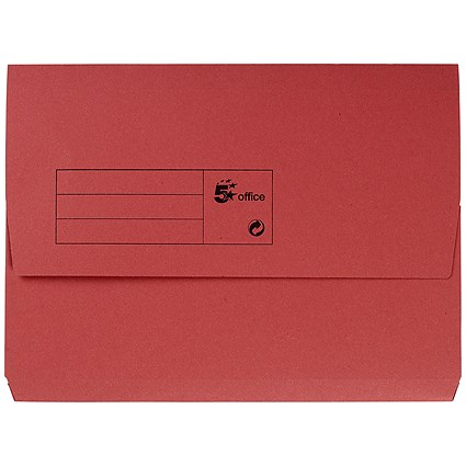 5 Star A4 Document Wallets Half Flap, 285gsm, Red, Pack of 50
